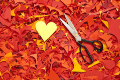 Valentine day paper cuttings background with scissors. Valentine day paper cuttings color background with scissors Stock Photography