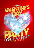 Valentine day party with crystal heart. Royalty Free Stock Image