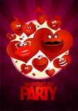 Valentine day party design flying hearts. Stock Photography