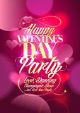 Valentine day party design with pink bokeh hearts. Royalty Free Stock Image