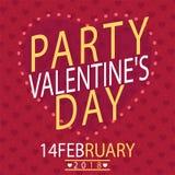 Valentine Day Party immagine di vettore del 14 febbraio Fotografie Stock Libere da Diritti