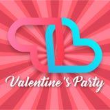 Valentine Day Party Pink e imagen azul del vector del corazón Imagenes de archivo