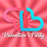 Valentine Day Party Pink et image bleue de vecteur de coeur Images stock