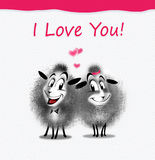 Valentine day e-card. Valentine's day greeting card. Couple of the sheep on white paper and red stripe, textured background. Greeting card with two sheep royalty free illustration