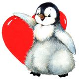 Valentine day penguin, red heart Stock Image