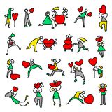 Valentine Day people icons. Thin simple pictograms with shoppin. G family with hearts and shopping carts. Collection for Valentine and winter holidays design Stock Photography