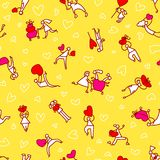 Valentine Day people seamless pattern. Background with shopping Stock Image