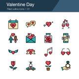 Valentine Day-pictogrammen Gevuld overzichtsontwerp Voor presentatie, grafisch ontwerp, mobiele toepassing, Webontwerp, infograph stock illustratie