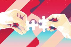 Hands with two puzzle pieces abstract background , modern illustration for teamwork, partnership , relationship , connection and c vector illustration