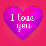Valentine Day. Polygonal heart with text - I love you. Vector. Stock Photos