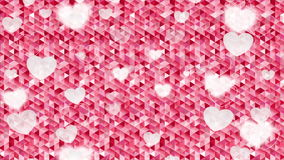 Valentine Day polygonal pixelated pink motion design. Valentine Day polygonal pixelated motion design with blurred hearts. Video animation Ultra HD 4K 3840x2160 stock footage