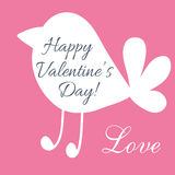 Valentine day postcard with cute bird shape Royalty Free Stock Image