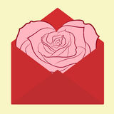 Valentine day postcard envelope with heart-shaped rose flower card Stock Photography