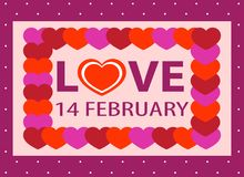 Valentine day postcard, 14 february, sticker. With heart royalty free illustration