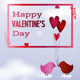 Valentine day postcard. Valentine day frame with two birds in love on clouds stock illustration