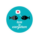 Valentine day 16. Postcard in honor of Valentine's day. Postcard with cute fishes in flat style. Made in . Easy recolor Royalty Free Stock Photos