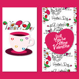 Valentine Day Poster. Set of 2 Colorful Valentine day poster for background, wall stickers Royalty Free Stock Photo