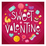 Valentine day sticker with sweets Royalty Free Stock Photo