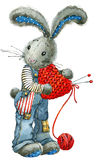 Valentine  Day. rabbit and heart. illustration watercolor Stock Photo