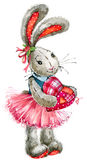 Valentine  Day. rabbit sweet heart. illustration, watercolor, Royalty Free Stock Images