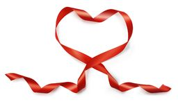 Valentine Day realistic heart from red silk ribbon vector on white background for greeting card for wedding.  Royalty Free Stock Photo