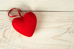 Valentine day. red fabric heart Royalty Free Stock Photo