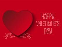 Valentine Day Red Heart felice Illustrazione Vettoriale