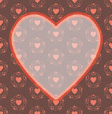 Valentine day red heart frame pattern background Royalty Free Stock Images