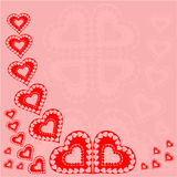 Valentine day red hearts red background vector Stock Photography