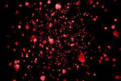 Valentine day red hearts shape rise like frizz champagne bubbles movement on black background with alpha channel matte, holiday fe Stock Image