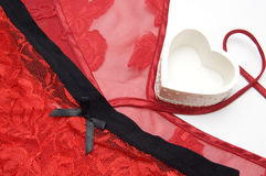 Valentine Day Red Lingerie and Heart Royalty Free Stock Images