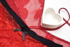 Valentine Day Red Lingerie y corazón Imágenes de archivo libres de regalías
