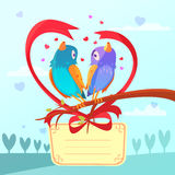 Valentine day retro cartoon. Card with birds couple vector illustration Stock Images