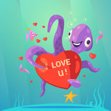 Valentine day retro cartoon. With cute octopus with red heart vector illustration Royalty Free Stock Photo