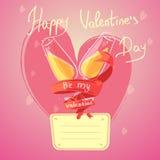 Valentine day retro cartoon Royalty Free Stock Images