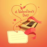 Valentine day retro cartoon. With headphones in heart shape vector illustration Stock Images