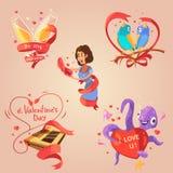 Valentine day retro cartoon set. With love congratulations labels  vector illustration Stock Photos