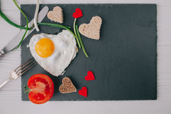 Valentine day.romantic breakfast.fried egg Stock Photos
