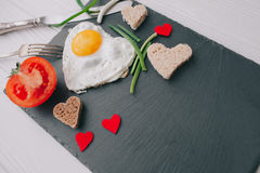 Valentine day.romantic breakfast.fried egg Stock Photography