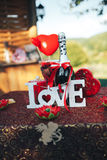 Valentine day romantic dinner. Valentine day decor.love story. decorated table ,hearts , romantic dinner outdoors Royalty Free Stock Photography