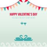 Valentine Day Romantic Love Greeting-Kaart Vlakke Vectorillustratie Royalty-vrije Stock Fotografie