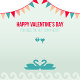 Valentine Day Romantic Love Greeting-Karten-flache Vektor-Illustration Lizenzfreie Stockfotografie