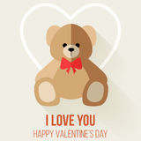 Valentine Day Romantic Love Greeting with Teddy Bear Royalty Free Stock Photos