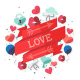 Valentine Day Romantic Love Message-Banner Vlakke Illustratie Royalty-vrije Stock Afbeeldingen
