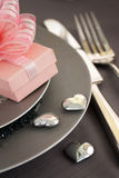 Valentine day romantic table setting Royalty Free Stock Photos