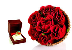 Valentine day and rose on white background stock image