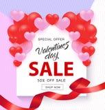 Valentine Day Sale baner med tecknet på vit form med röda och rosa hjärtor och bandet royaltyfri illustrationer