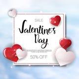 Valentine Day Sale Banner Template-Vlieger met de Kortingenconcept van de Exemplaar Ruimtevakantie Stock Fotografie