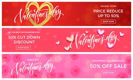 Valentine Day sale banners design template. Vector golden glitter heart on pink flowers background for Valentines fashion sale sho. Pping season discount offer royalty free illustration