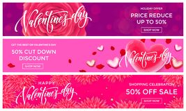Valentine Day sale banners design template. Vector red heart on pink flowers background for Valentines fashion shopping season sal. E discount offer or love day vector illustration